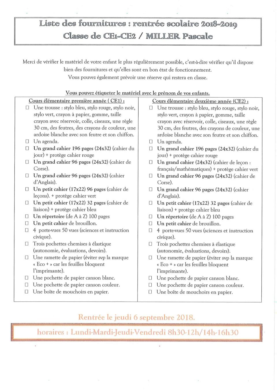 Liste des fournitures scolaires Année scolaire 2018/2019